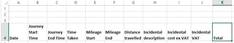 Setting up a Data Table with a heading for each column